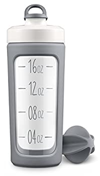Ello Splendid Glass Shaker Bottle with Leak-Proof Lid 20 oz Grey