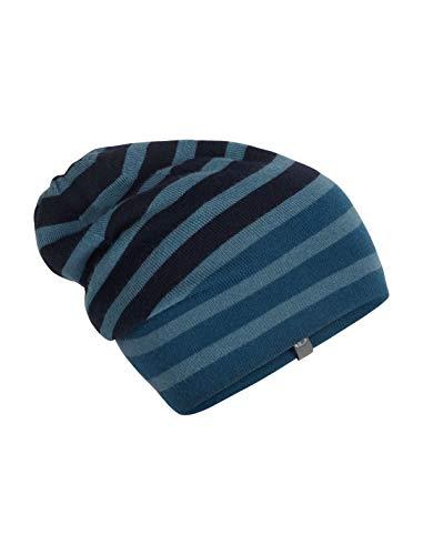 icebreaker Merino Slouch Beanie Merino, Unisex, Stripe Slouch Beanie, Preußisches Blau, One Size