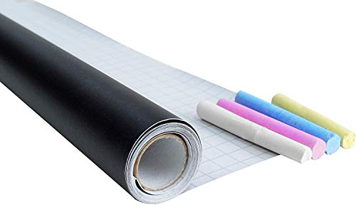 CON:P bordfolie zwart - 200 x 45 cm - zelfklevend & gemakkelijk aan te brengen - Ideaal voor tekenen, schrijven & vormgeven - met krijt in wit, blauw, geel en roze/krijtbord/wandfolie / B29206