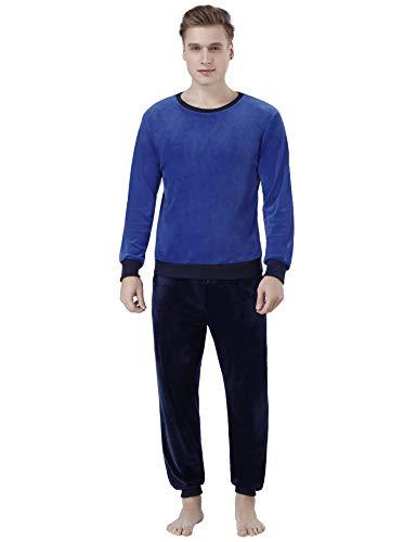 Abollria Pijama Hombre Invierno Polar Mangas Larga Pantalones Largo Conjunto de Joggers Primavera Ropa de Casa Cuello Redondo, Gris+Marrón, S