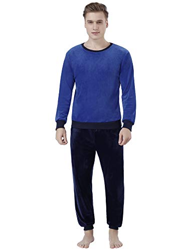 Abollria Nicki Hausanzug Herren Velours Zweiteiliger Schlafanzug Warn Samtweich Rundhals Pyjama + Hose mit Tasche,Blau+Navyblau,S