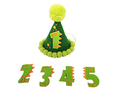 Dinosaur Birthday Party Supplies Birthday Hats I Dinosaurs Party Hat for 1 - 5 Birthdays I Dino Cone Hat with Attachable Lettering '1', '2', '3', '4', '5' I Green Themed Little Birthday Decorations