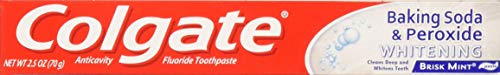 Colgate Anticavity, Brisk Mint, Baking Soda & Peroxide Whitening Gel Toothpaste, 6 Pack - 2.5 Oz Ea (Total 15 Oz)