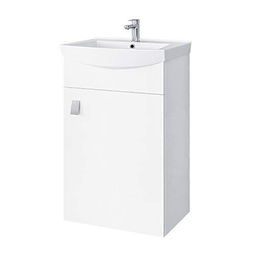 Planetmöbel Waschbecken mit Waschbeckenunterschrank/Waschtisch-Unterschrank 45cm Gäste Bad WC (Weiß)