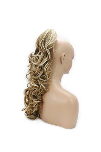 Elegant Hair - 56cm / 22 pouces queue de cheval Ondulé – Fraise mélange blonde #27/613 - Clip-in pièce de extensions de cheveux réversible avec griffe-clip - 30 Couleurs - 250g