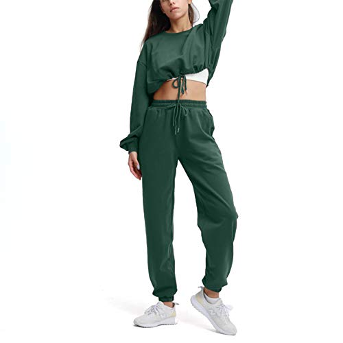 Aoxjox Sweat Suits for Women Set 2 piece Outfit Cropped Oversized Sweatshirt with Full Length Cuffed Joggers (Dark Green, Small)