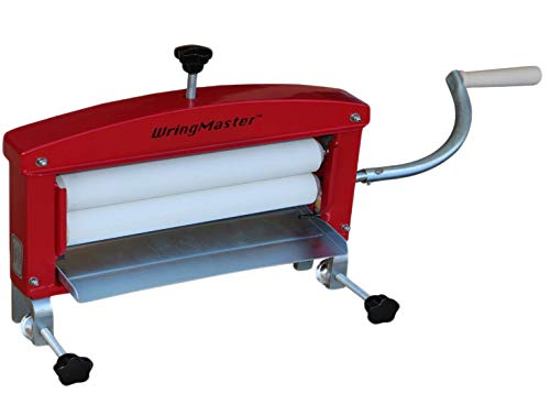 "WringMaster Clothes Wringer Hand Crank - Extra Wide 14"" Rollers - for Home, Boating, Camping, Laundry Dryer (Red)"
