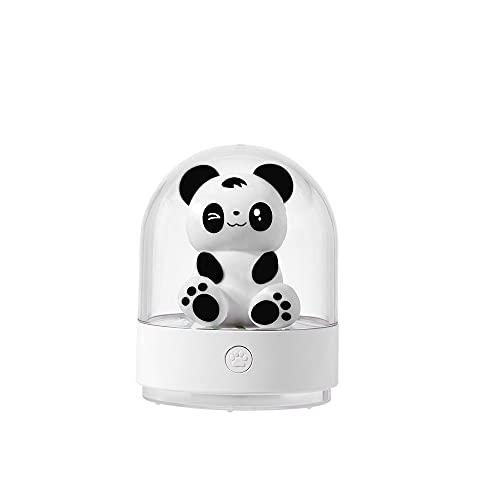Jgrace Simulación Panda Luz Nocturna, Difusor de Aroma El Interruptor de la luz de la luz de la luz de la Noche Ajustable Lámpara de Mesa LED en 7 Colores niños y niñas,Blanco
