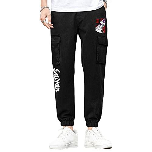 Nyrgyn Pantalones Deportivos Anime Dragon Ball Jogger Pantalones Deportivos cordón Bolsillos Pantalones de Trekking,XL