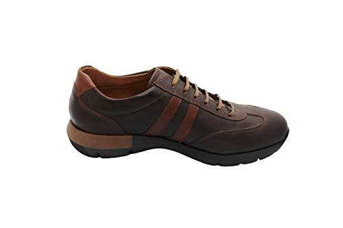 Zapatos hechos a mano para hombre de cuero, zapatillas de deporte con cordones de ocio casual elegante, color Marrón, talla 43 1/3 EU