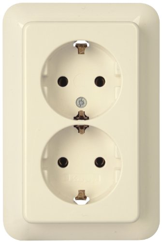 Kopp 945701088 Rivo Schutzkontakt-Steckdose 2-fach mit erhöhtem Berührungsschutz