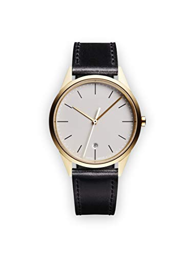 Uniform Wares Unisex Herren & Damen C36 Date Uhren PVD Satin Gold with Black Nappa Leather Strap