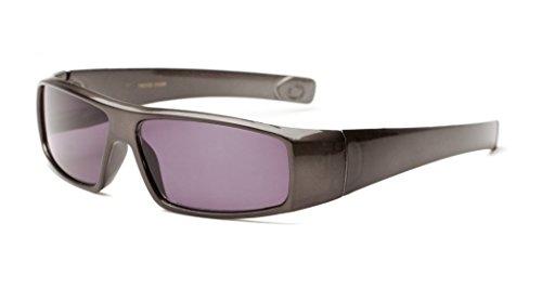 +2.50 Graphit Grau Getönte Lesebrille Sonnenbrille Designer Stil Rundum-Design Männer 100% UV-Schutz, 2.5 Dioptrien