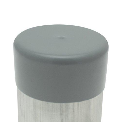 Pak van 5 grijze palen 88,9 mm, pvc-doppen, paaldoppen, afdekkende einddoppen