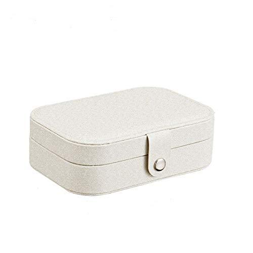 Cerobit Mini - Joyero de viaje para mujer, caja de almacenamiento de anillo, collar de pulsera, doble caja de almacenamiento de cuero, estuche de regalo para mujeres? Beige