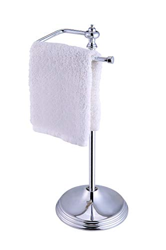 SunnyPoint Heavy Weight Classic Decorative Metal Fingertip Towel Holder Stand for Bathroom, Kitchen, Vanity and Countertops; Hanging Bar is 14.2' Height. (Chrome, 15.6' x 5.6' x 5.6')