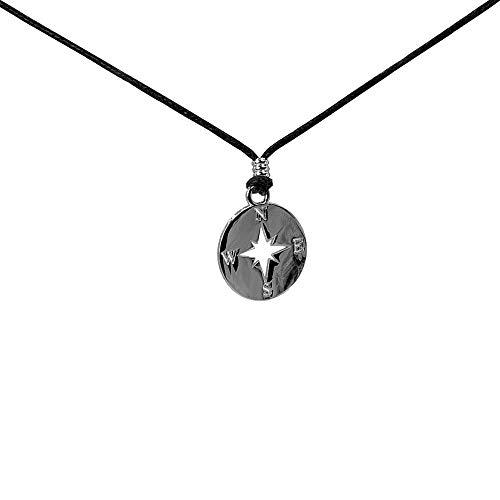 MusicX Collar para Hombre Colgante Mujeres, Colgante de la Suerte Color Plata, Rosa de los Vientos, Amuleto de protección (45cm)