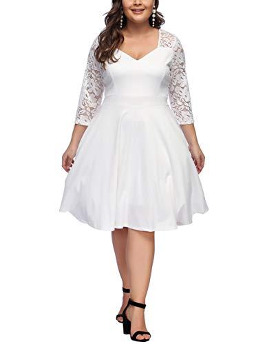 FeelinGirl Damen Plus Size Große Größen Elegantes Langes Spitzenkleid Cocktailkleid Abendkleid Hochzeit Brautkleid mit kurz Ärmel O-Ausschnitt Blumensptizen (Weiß, 4XL (EU 66-68))