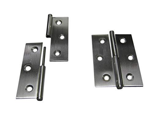 2 x Möbelband Scharnier Scharniere Edelstahl Edelstahlscharnier A2 70 x 50 rechts