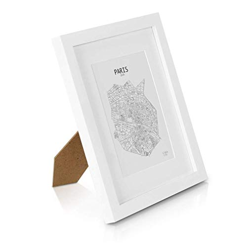 Marco de Fotos 20 x 25 cm con Paspartú para foto 13 x 18 cm - Madera de Pino - 1 Marco - Grosor del Marco 2 cm - Frente de Cristal Templado - Color Blanco