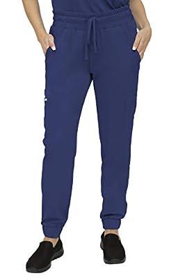 SOULFUL SCRUBS 3502 Cora 5-Pocket, Jogger Pant - Stylish Medical Scrub Pant for Women - Navy Small