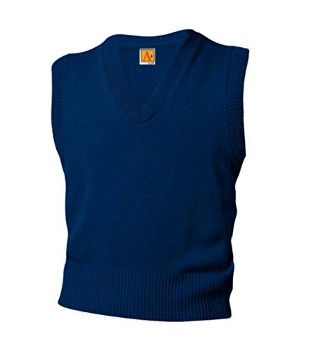 A+ Youth School Uniform V-Neck Sweater Vest (Adult Medium, Navy)