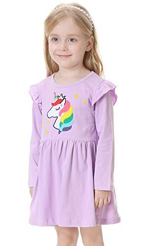 VASCHY Vestido Niña,Vestido Unicornio Niña Infantil 2-7T Manga Larga de Algodón Vestido Casual con Patrón Linda para Pequeños Niñas Ropa Morado