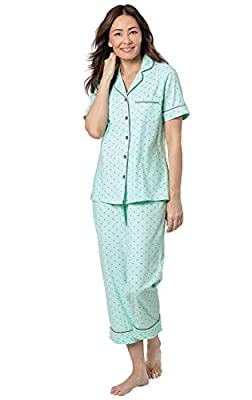 PajamaGram Womens Pajama Sets Cotton - Soft Pajamas for Women, Mint, S, 6-8 from PajamaGram