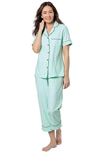 PajamaGram Womens Pajama Sets Cotton - Summer Pajamas for Women, Mint, M, 10-12
