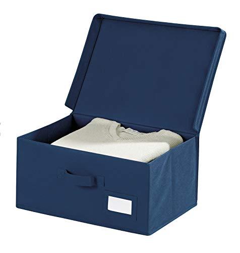 WENKO Aufbewahrungsbox Air S, mit klappbarem Deckel, praktischem Griff und Beschriftungsfenster, schützt vor Motten, Staub und Schmutz, aus atmungsaktivem Vlies-Material, 34 x 19 x 24 cm, Navy