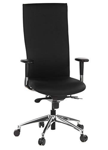 hjh OFFICE 710500 Profi Bürostuhl Office-TEC Stoff Schwarz Chefsessel ergonomisch, hohe Rückenlehne