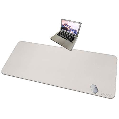 CENNBIE 4XL Alfombrilla de Escritorio súper Grande - 150x70cm Almohadilla de Escritorio de Cuero Vegano Premium de Gran tamaño - Tecnología Ultra Ergocomfort de 59 'x27.5 (Crema)