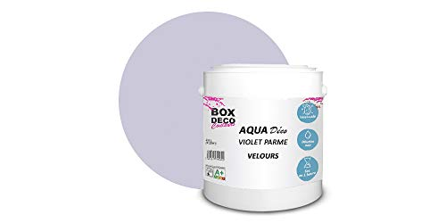 Peinture acrylique aspect velours Aqua déco - Murale - 44 couleurs - 2,5 L - 25 m² (Violet Parme)