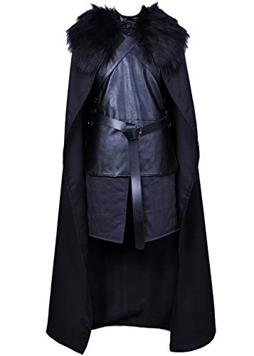 Jon Snow Cosplay Costume for Game of Thrones Black Cape with Coat Cloak Halloween Knights Watch Outfit for Men LD056M