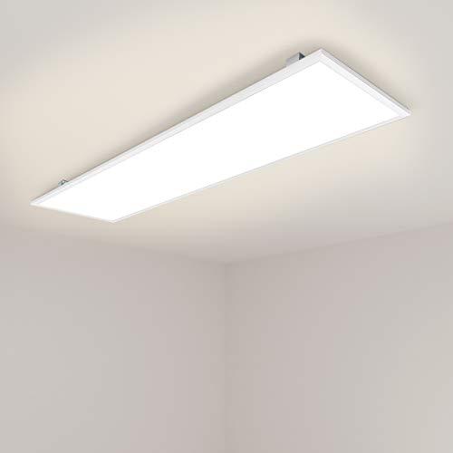[PRO High Lumen]OUBO Deckenlampe Deckenleuchte LED Panel 120x30cm Warmweiß / 48W/ 4500lm / 3000K / Weißrahmen Flurlampe Decke Wandleuchte Schlafzimmer Kinderzimmer, inkl. Trafo und Anbauwinkel