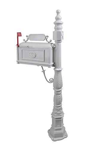 Polar Aurora Barcelona Decorative Post Mailbox Combination Stratford Heavy Duty Postal Mail Box Cast Aluminum(White)