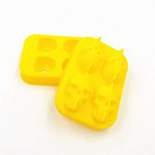 Zengqhui Eiswürfelformen 3D Schädel Flexible Silikon Eisform 4 Schädel Große Eismaschine für Juice Jelly Chocolate Whisky Einfache Freigabe (Farbe : Yellow)
