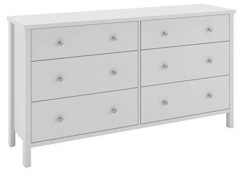 Dynamic24 Commode Trone 6 laden wit dressoir highboard kast hal hal landhuis