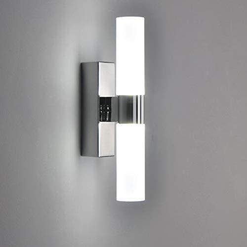 LQCN LED Wandleuchte Doppelköpfe Acryl für Hotel Schlafzimmer Wandleuchten für Badezimmer Edelstahl LED Spiegelleuchten, Cool White, 6W