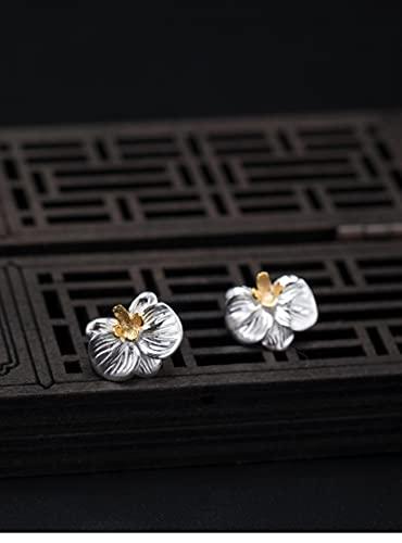yuge 925 plata flor joyería conjunto señoras romántico flor pendientes anillo pendientes broche broche jade joyería plata tachuelas