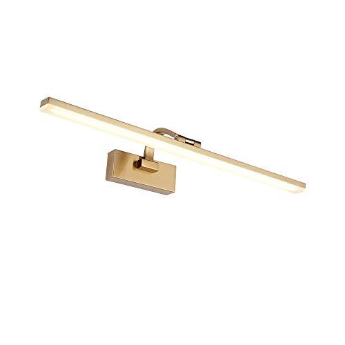 VOVOVO Badezimmer-Eitelkeits-Leuchte 9W Eitelkeitsspiegel-Licht-Satin-Messing-Acryl-Wandleuchte für Badezimmer-Ankleidezimmer 3500K Verstellbarer Winkel 180 ° - warmes Weiß