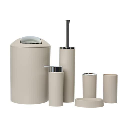 GMMH – Set di 6 accessori da bagno, con dispenser per sapone, porta saponetta e scopino per WC (modello 2a, beige)