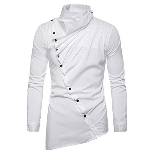 Mr.BaoLong&Miss.GO Camicie da Uomo, T-Shirt A Maniche Lunghe da Uomo, Maglioni, Top Casual da Uomo, Abbottonatura Obliqua Asimmetrica da Uomo, Camicie A Maniche Lunghe con Colletto in Pile