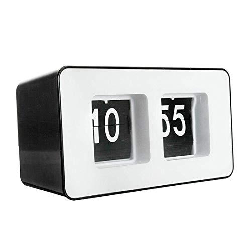 ZhenHe Auto Flip Cuarzo Alarma Retro Pared Oficina plástico rectángulo Despertador Escritorio decoración del hogar Estudio Temporizador Digital Adecuado para el hogar, Oficina, niños.