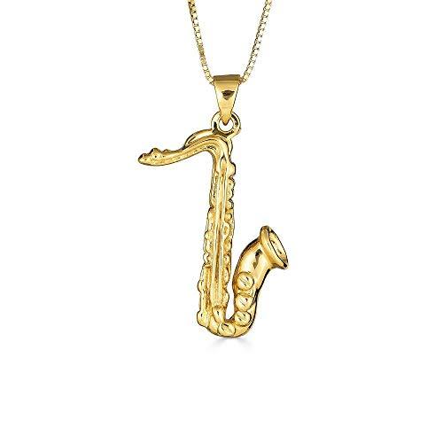 Kleine Schätze Sterling Silber Gelbes Gold überzogen Saxophon Musik Anhänger Halskette (Verfügbare Kettenlänge 40cm - 45cm - 50cm - 55cm)