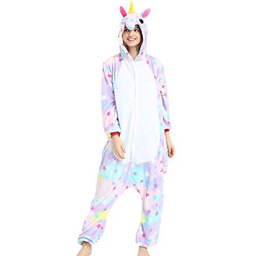 LPATTERN Erwachsene Damen/Herren Cartoon Kostüm- Jumpsuit Overall Schlafanzug Pyjamas Einteiler, Bunt Stern Pegasus, M für Körpergröße 156-165CM