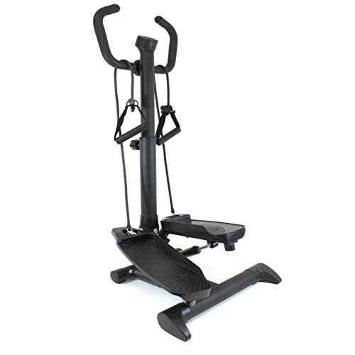 QM-Basic Swing Side Stepper 2in1 mit Haltegriff Einsteiger Senioren Fitnesstrainer Mini Stepper variabel einstellbar mit Trainingscomputer