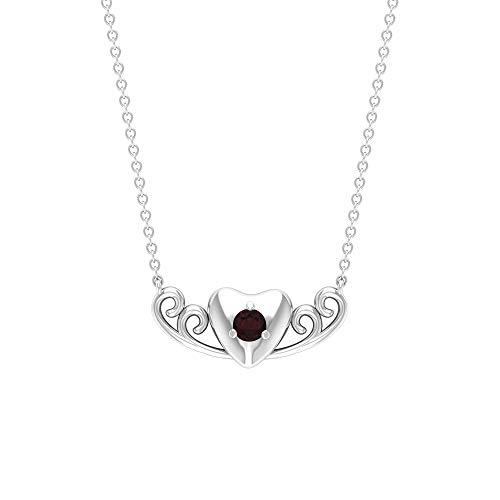 Rosec Jewels 18 quilates oro blanco redonda Red Garnet