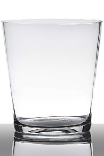 INNA-Glas Glasvase Glas Ruby, Trichter - rund, klar, 20cm, Ø 19cm - Konische Vase - Blumenvase