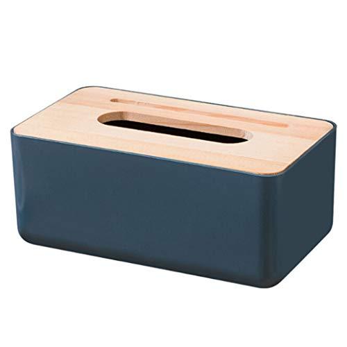 GLJYG Boîte à mouchoirs en Bois Couvercle tiroir boîte de Rangement boîte à mouchoirs rectangulaire Distributeur pour Maison Bureau Voiture Automobile décoration,Bleu Marin